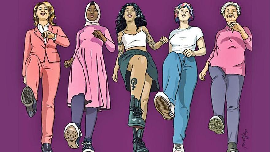 'Les dones trepitjam fort!',  el lema del 8M de Manacor