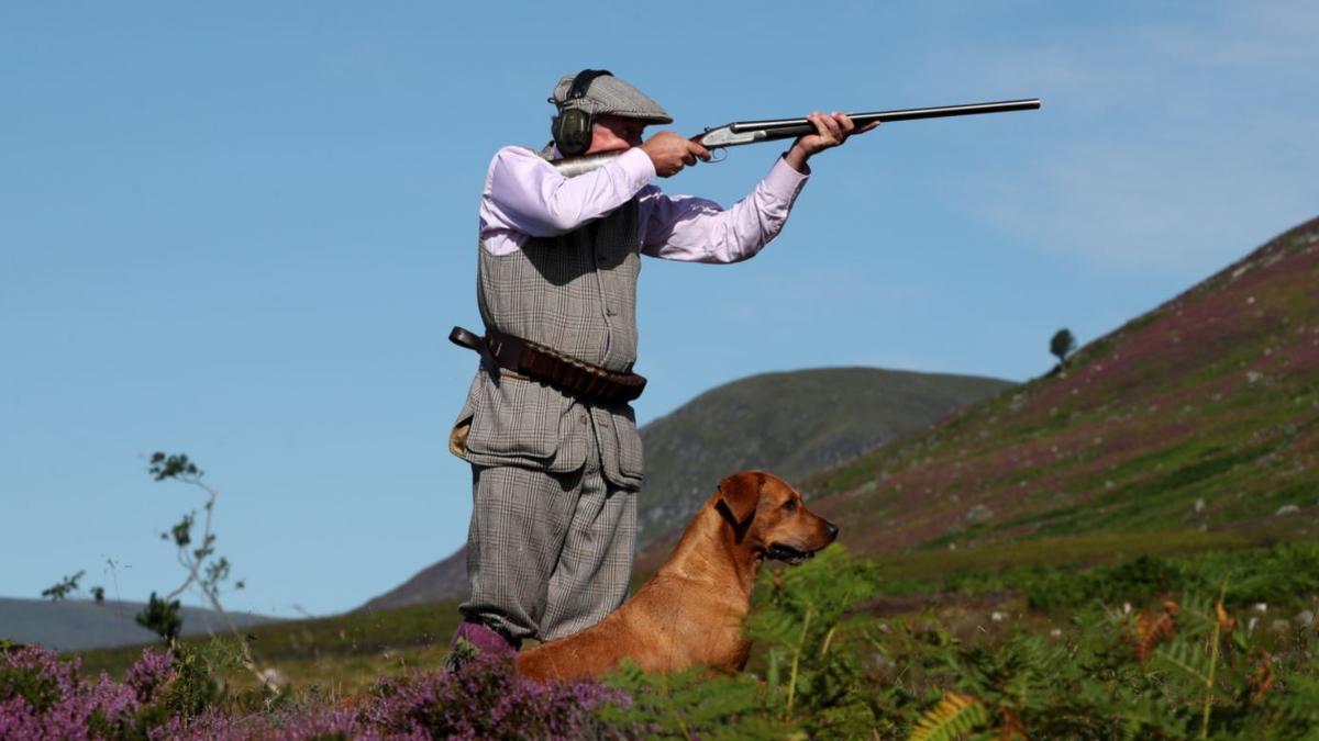 Foto de archivo de un cazador junto a su perro.