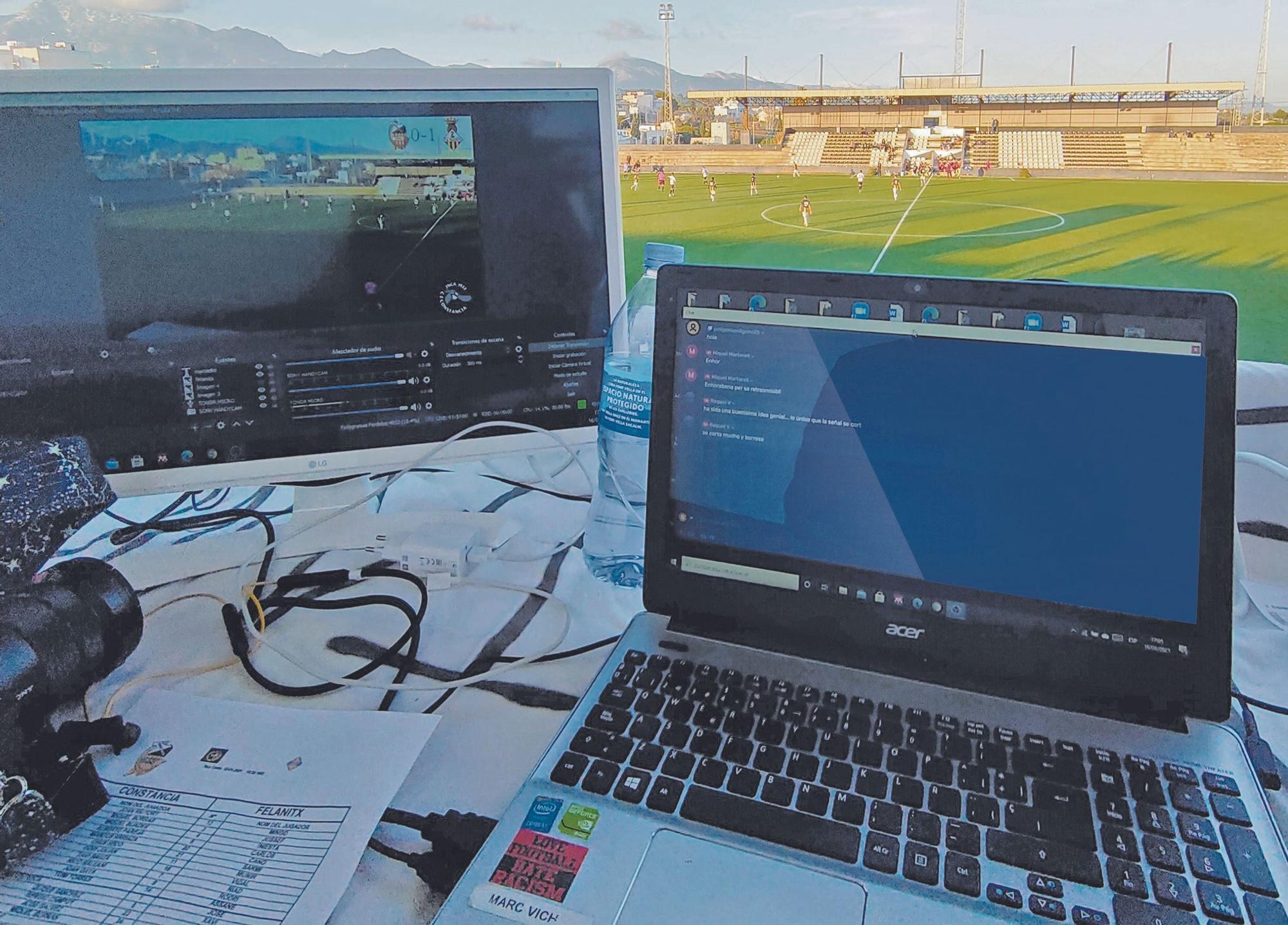 Imagen de la mesa de control en el partido de Tercera entre Constancia y Felanitx.