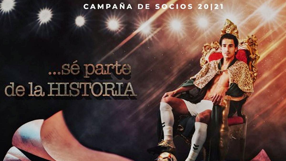 Pere Milla, autor del gol del ascenso, es la imagen de la nueva campaña de socios del Elche.