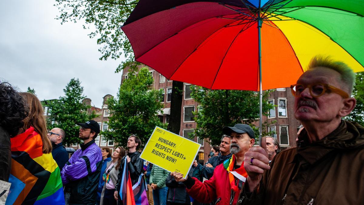 Protesta contra la nueva ley de Hungría contra la comunidad LGTBI
