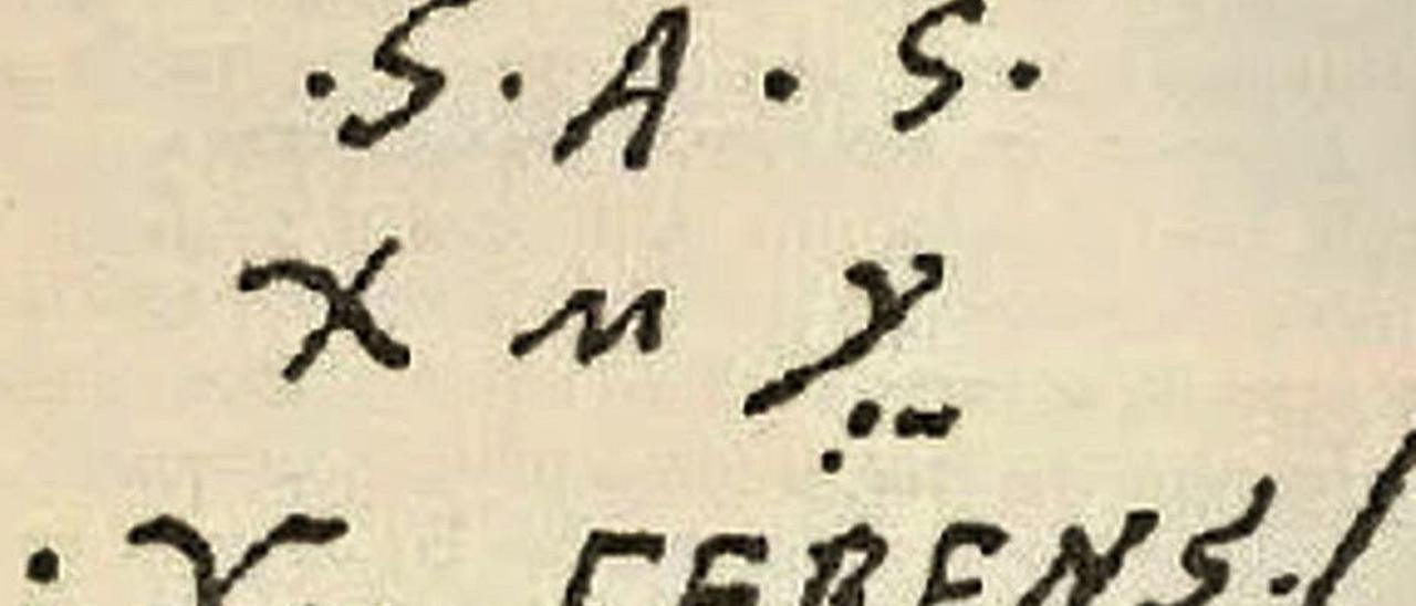 Firma de Cristóbal Colón analizada por el ponteareano.     // D.P.
