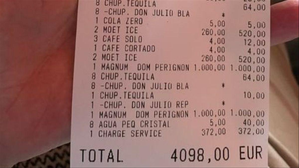 La factura del restaurante de Marbella que se hizo viral.