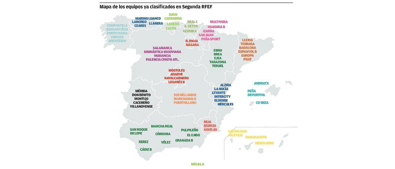 Relación de equipos ya clasificados para la Segunda RFEF, repartidos por comunidades autónomas.
