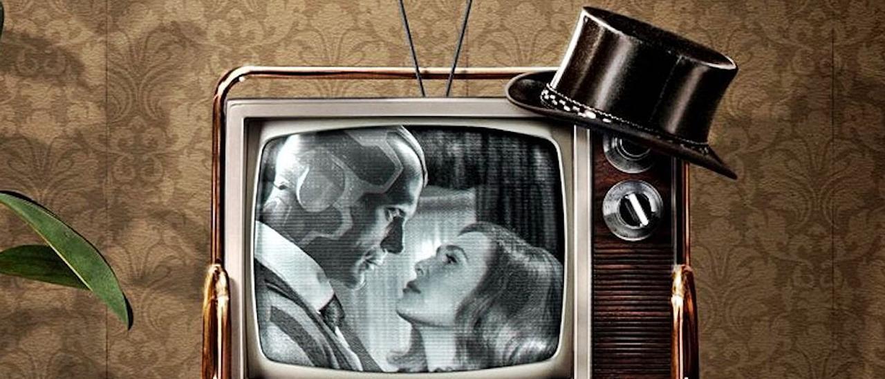 """Imagen promocional de la serie """"Bruja Escarlata"""", con Paul Bettany y Elisabeth Olsen."""