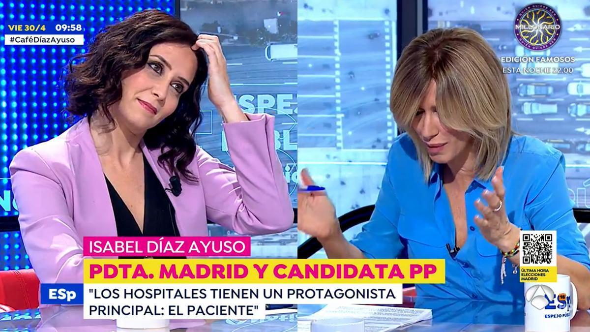 La presidenta de la Comunidad de Madrid, Isabel Díaz Ayuso, junto a Susanna Griso.