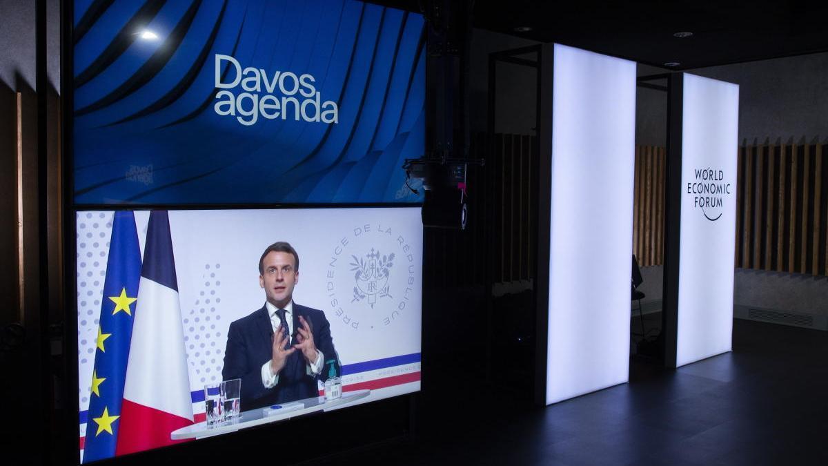 Emmanuel Macron, en su intervención por videoconferencia en el Foro Económico de Davos