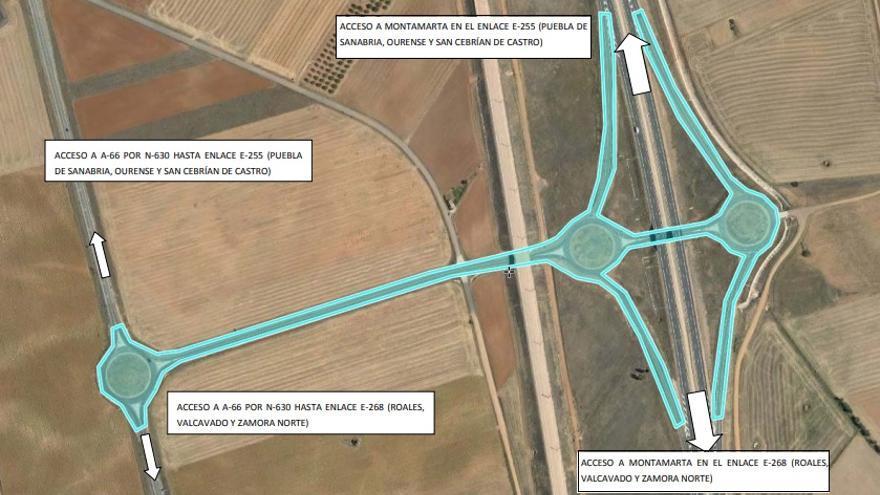 Corte de tráfico durante seis días del enlace de Montamarta (Zamora) desde la A-66