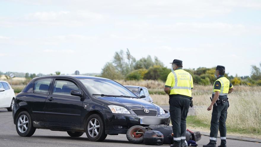 Motorista herido en la rotonda de Villaralbo