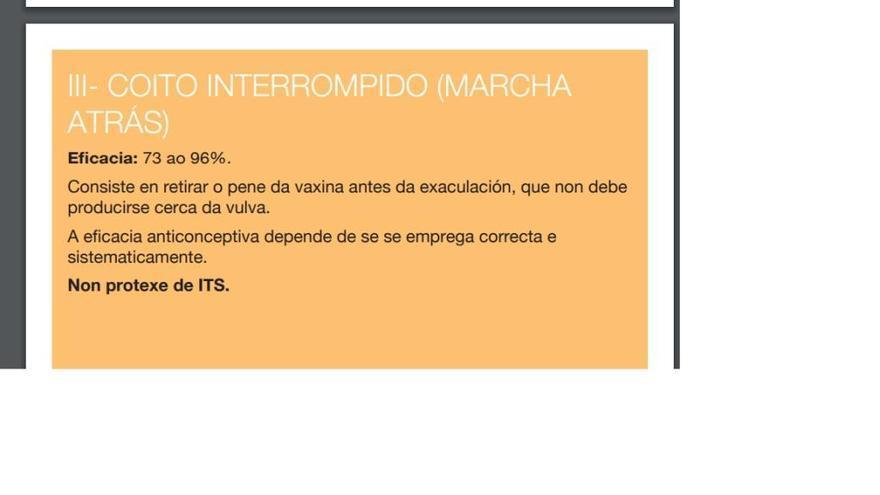 """La web del Sergas mantiene la """"marcha atrás"""" en un folleto de métodos anticonceptivos"""