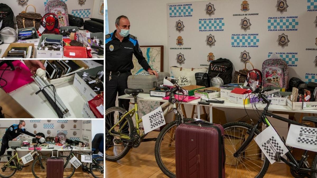 Objetos perdidos bajo custodia de la Policía Local de Ourense. // BRAIS LORENZO