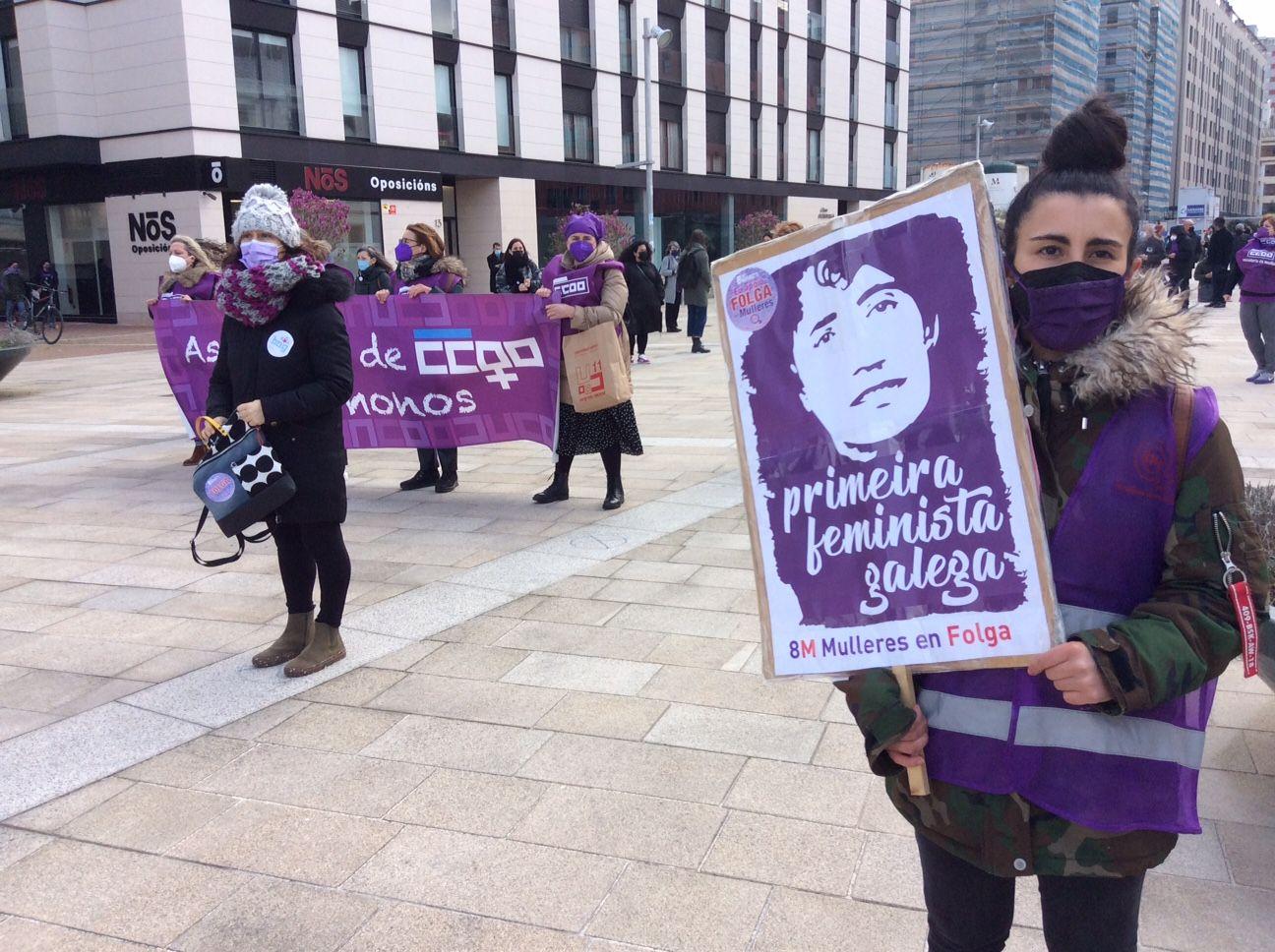 Manifestación convocada por el colectivo feminista Galegas 8M en A Coruña