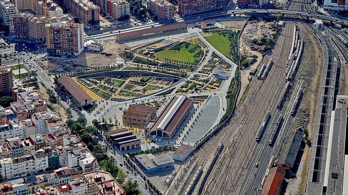 El Parc Central con la primera fase ejecutada y la estación provisional Joaquín Sorolla. | VSPC