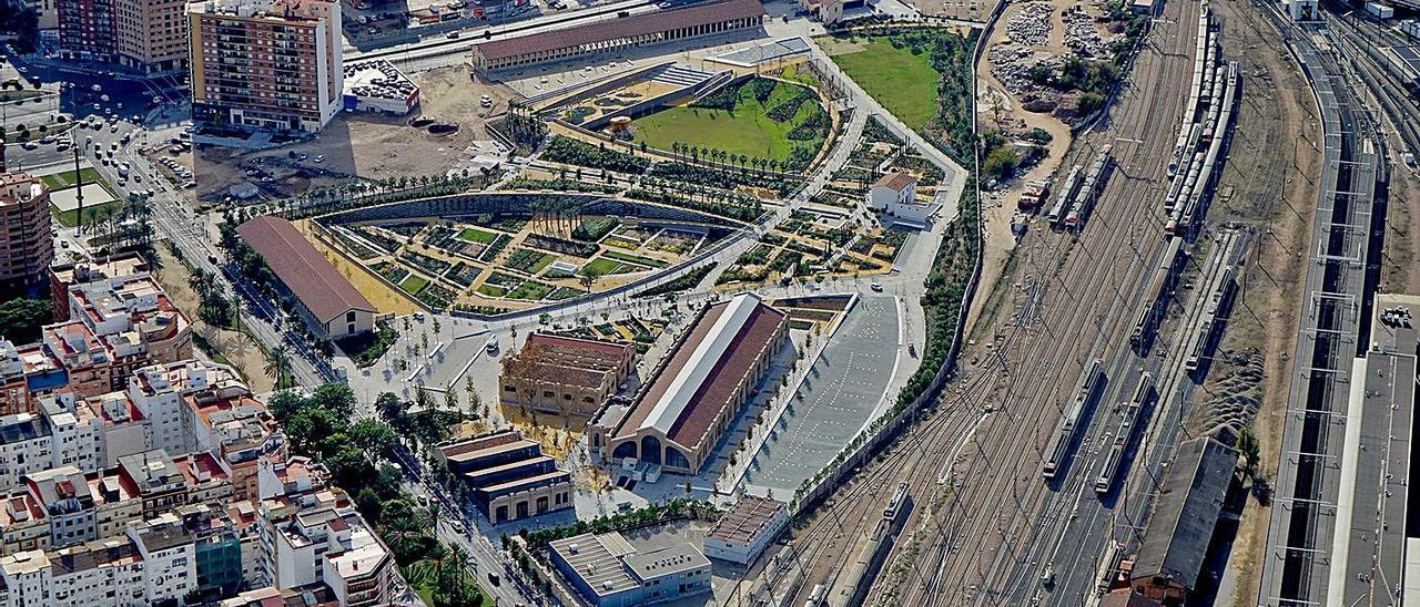 El Parc Central con la primera fase ejecutada y la estación provisional Joaquín Sorolla.   VSPC