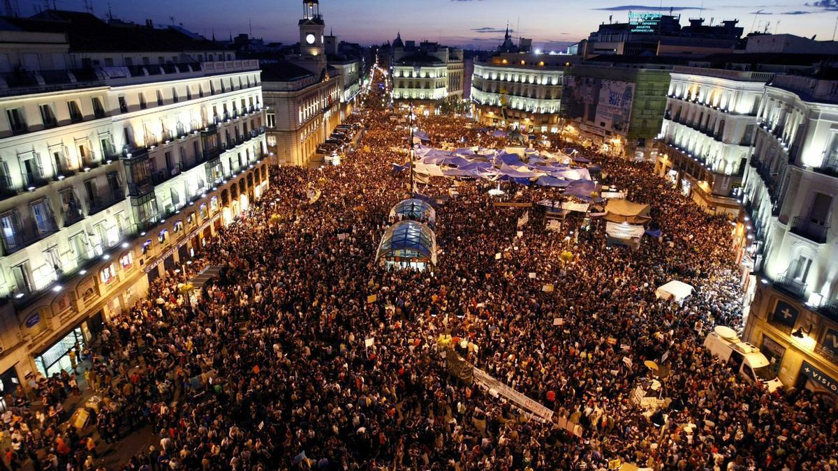 Imagen de la Puerta del Sol tomada por los indignados