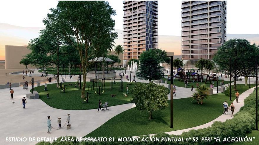 El PSOE advierte que la modificación del PGOU para las torres del Acequión excluye actuar sobre el parque de Doña Sinforosa