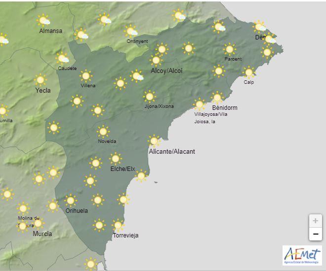 Predicción para hoy de la provincia de Alicante