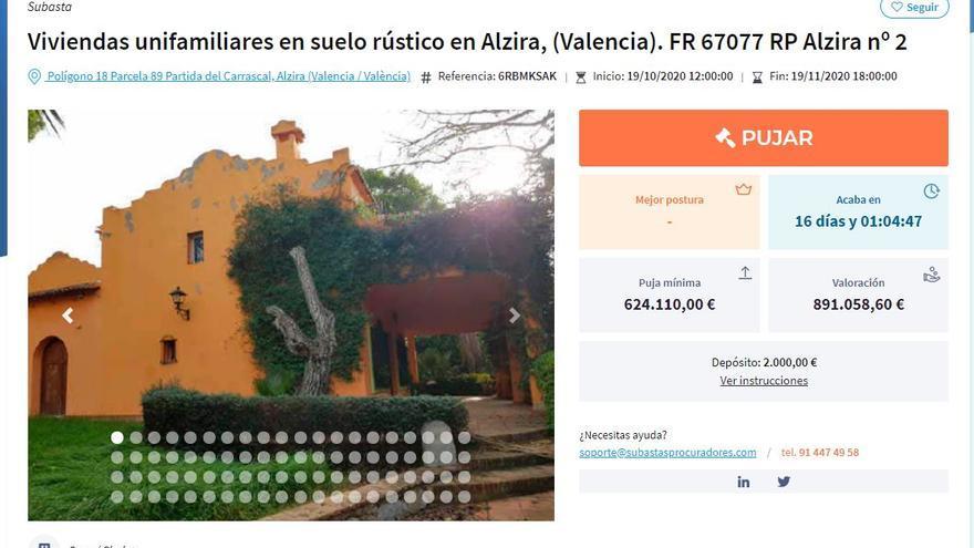 Subastan el chalet de Rafael Blasco por un precio de salida de 624.110 €