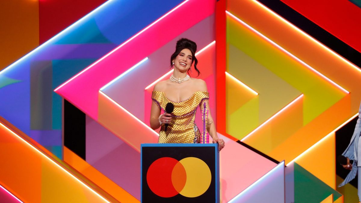 Dua Lipa collects the award at the ceremony that took place in London