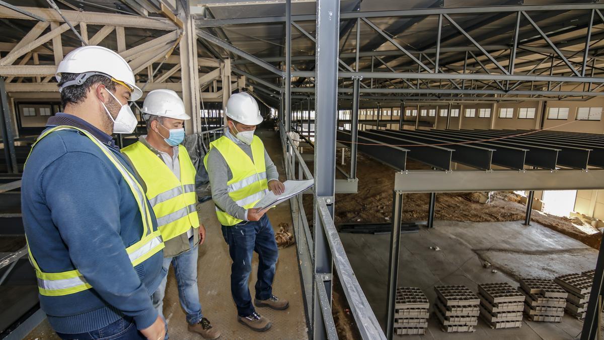 Técnicos del proyecto en la pasarela elevada que atraviesa la instalación, esta semana.