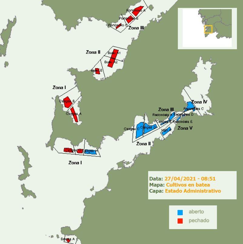 Mapa obtenido del Intecmar que muestra la situación de los polígonos bateeiros en la ría de Pontevedra y Vigo, esta mañana.