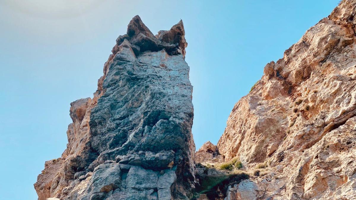 Spitze Ohren, lange Schnauze: Die Tierfigur im Fels ist deutlich erkennbar.