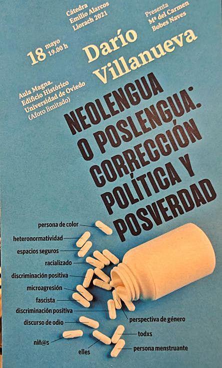El cartel de la conferencia de Darío Villanueva en la Cátedra Alarcos.