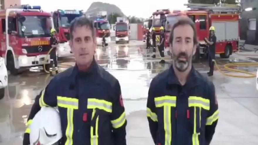 Los bomberos de Alicante animan a los alicantinos con una banyà virtual