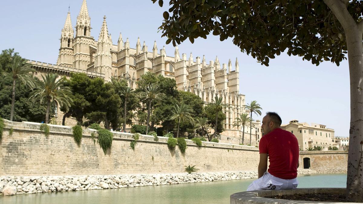 Un hombre contempla la catedral de Palma de Mallorca.