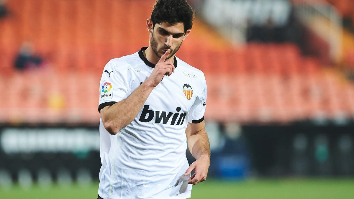 Guedes celebra su gol ante el Villarreal.