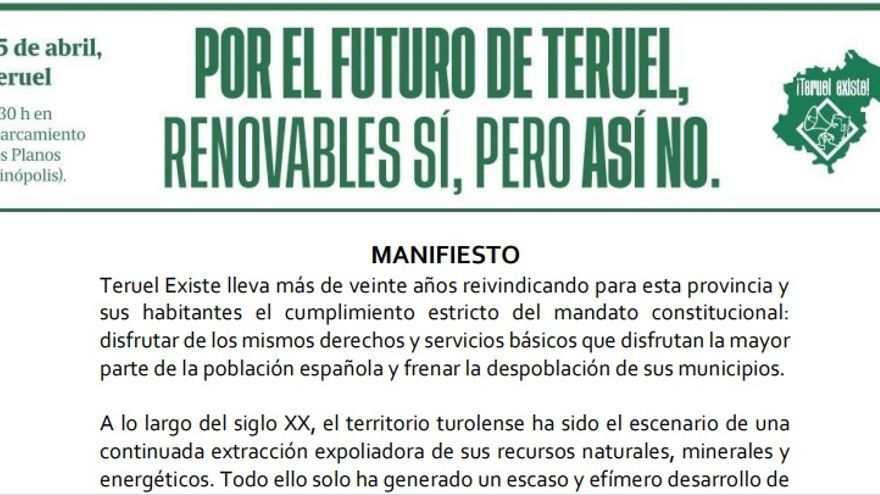 """Manifiesto de Teruel Existe contra la instalación de parques eólicos """"sin control"""""""
