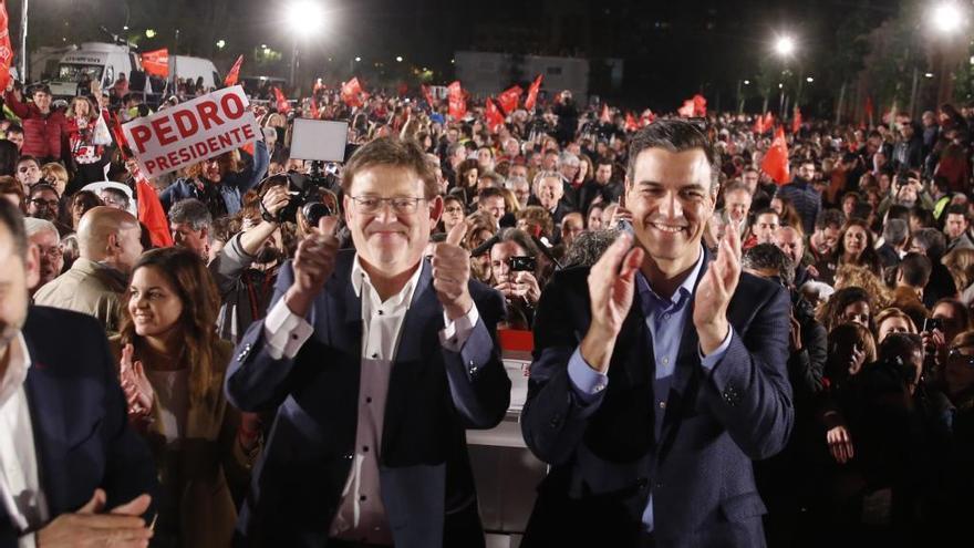 Puig se encomienda a Pedro Sánchez en el cierre de la campaña socialista