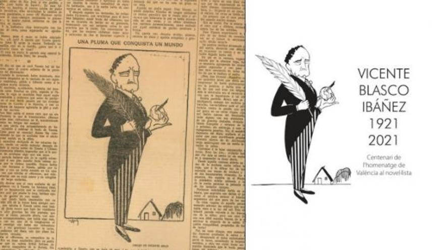 València recupera una caricatura de 1921 como imagen del centenario del homenaje a Blasco Ibáñez
