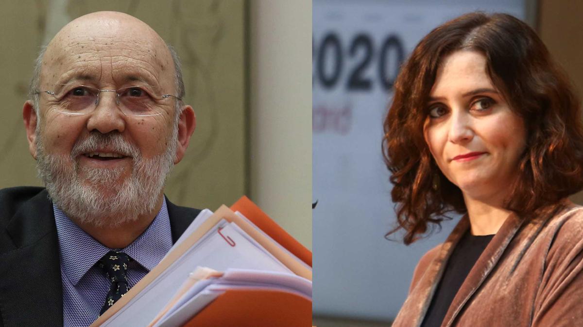 Combo de imágenes de José Félix Tezanos e Isabel Díaz Ayuso.