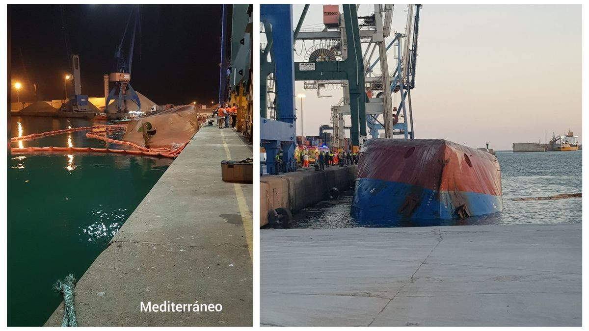 En la izquierda, imagen a la que ha tenido acceso Mediterráneo en el que se observa la rotura del cabo, con el barco volcado en segundo plano.