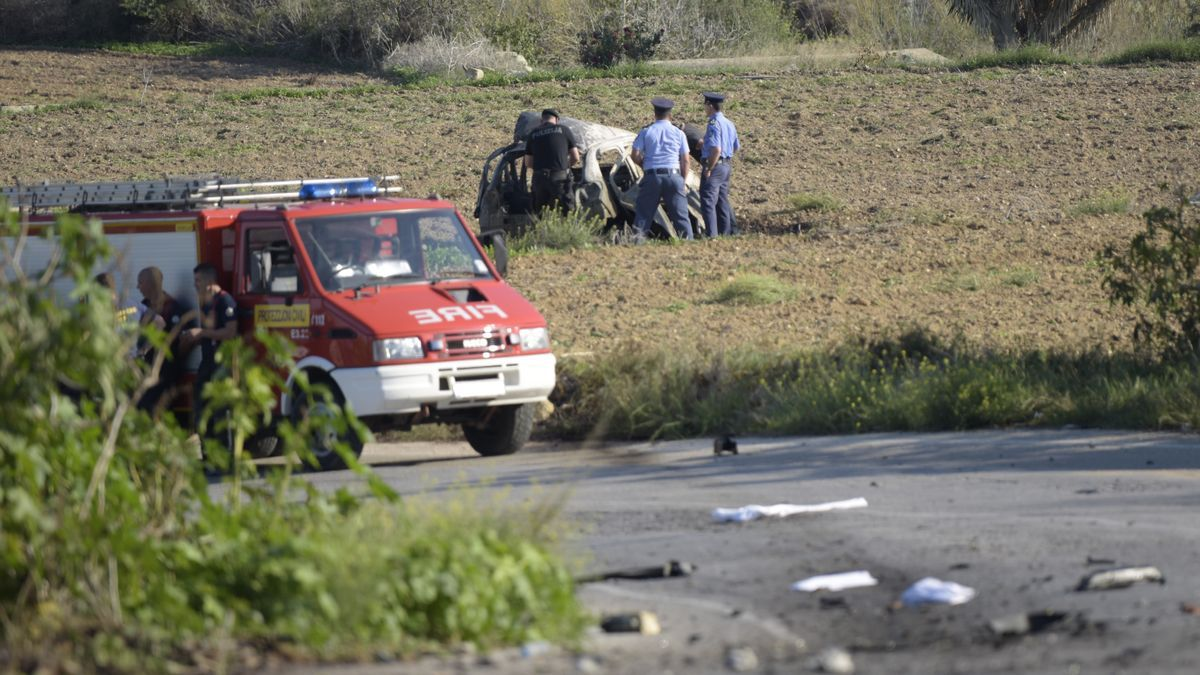Escena del asesinato de la periodista Caruana Galizia.