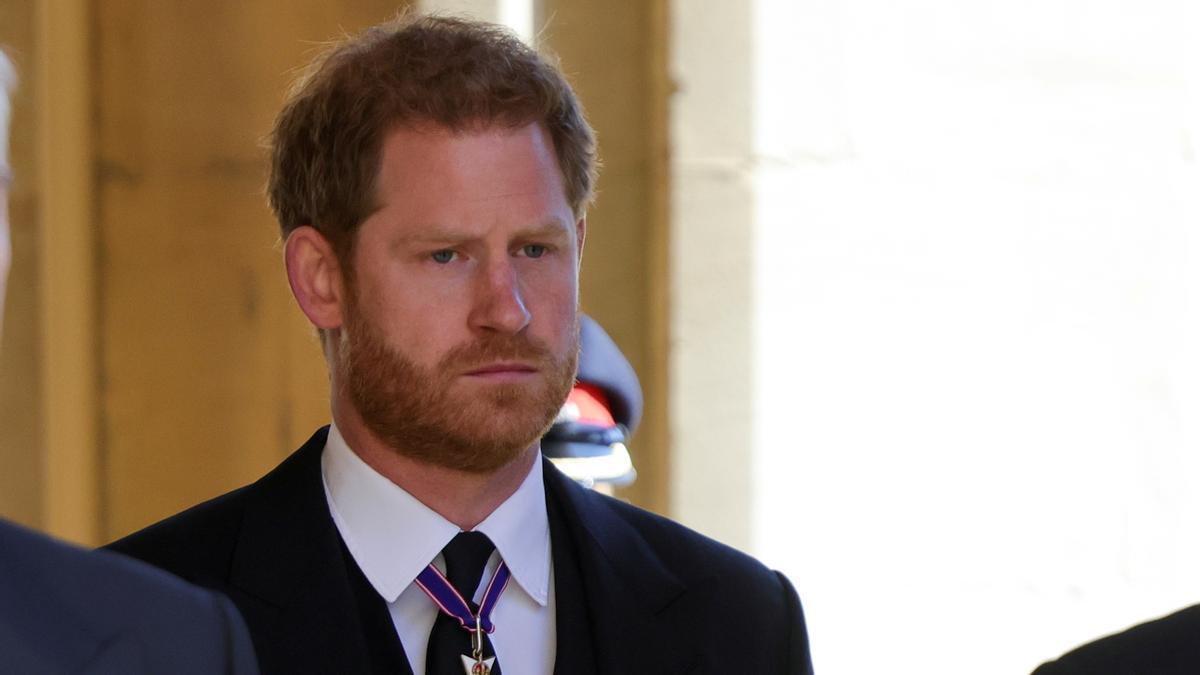 El príncipe Harry en el funeral de su abuelo, el duque de Edimburgo