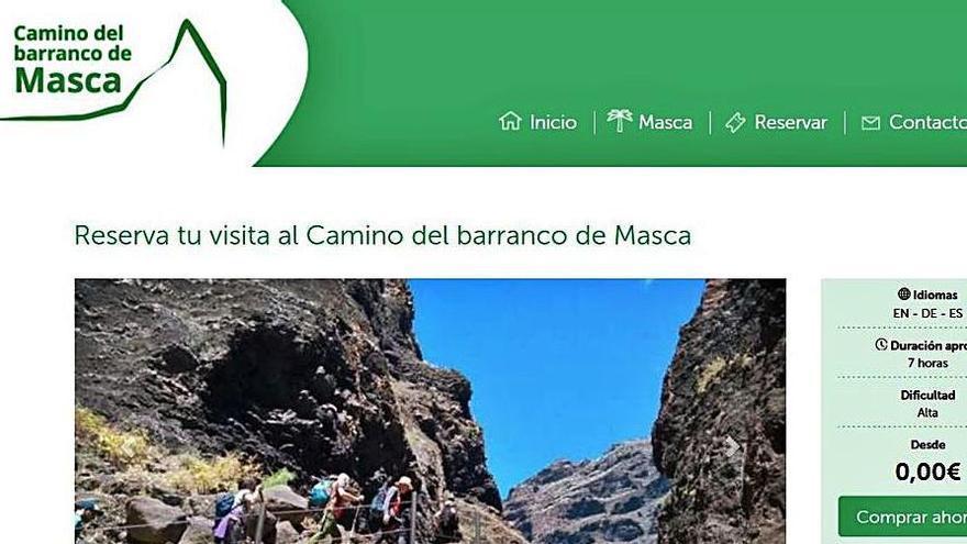 Captura de pantalla de la página web del camino del barranco de Masca.