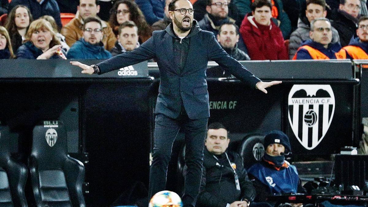 El entrenador del Valencia en un partido en Mestalla durante su etapa en el Getafe. | EFE