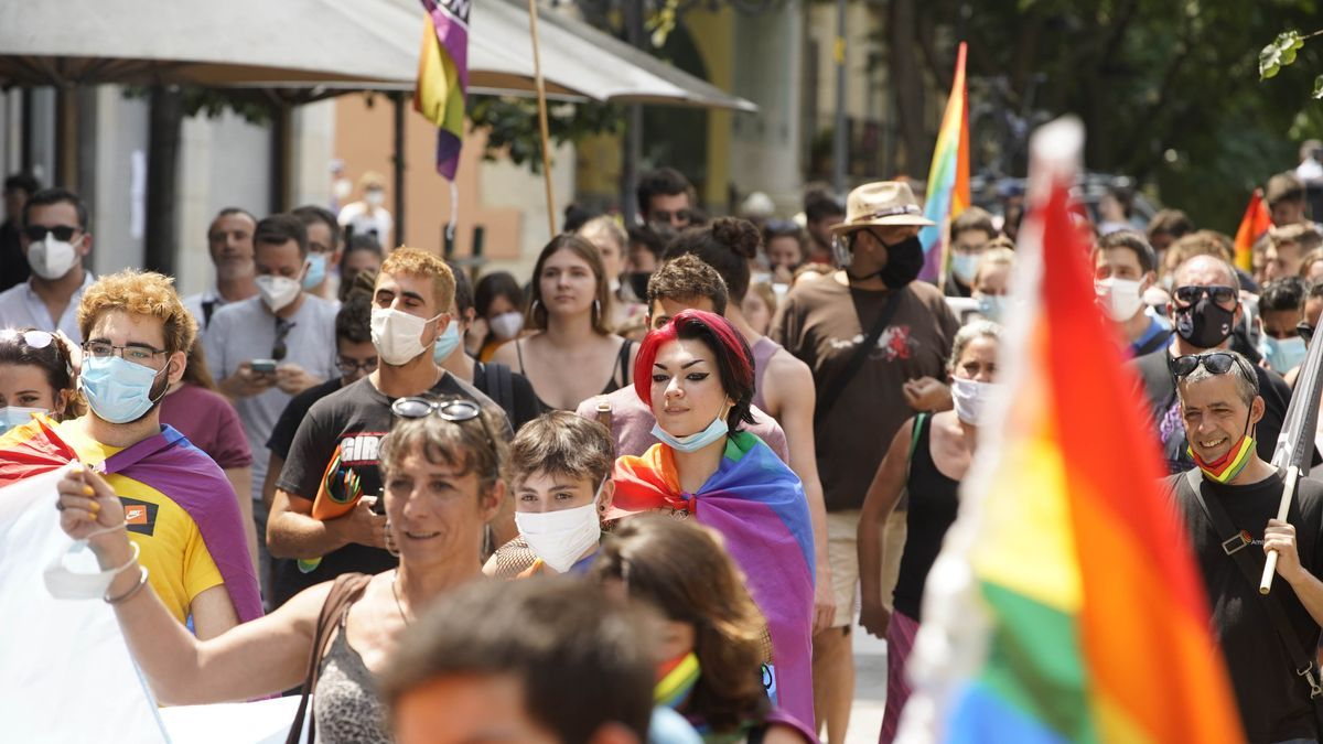 Manifestants pel Dia Internacional de l'Orgull LGTBI en una imatge del 2020