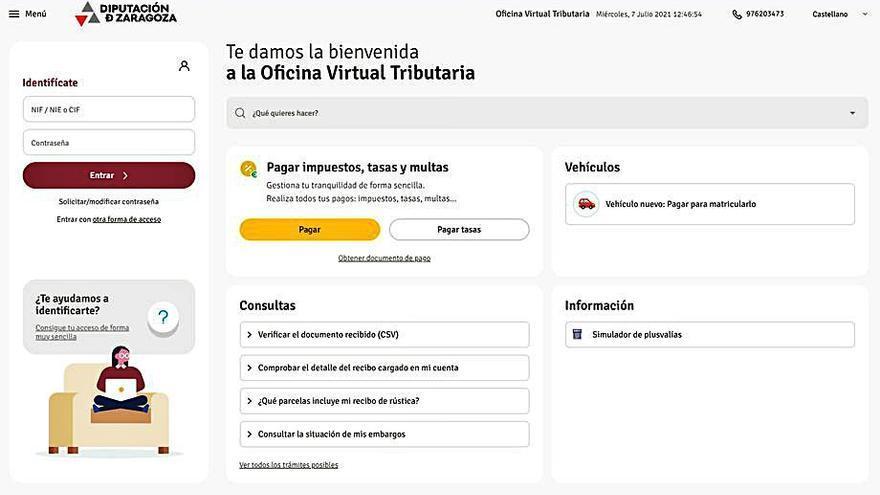 La DPZ facilita y agiliza la tributación con la Oficina Virtual