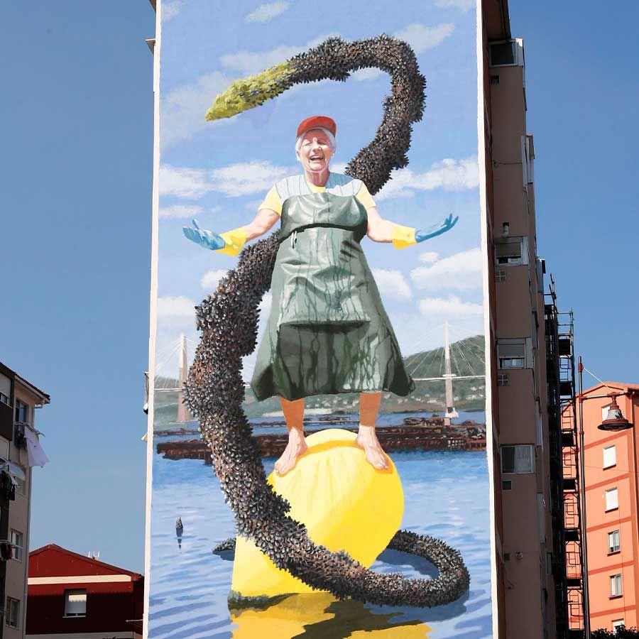 """Yoseba MP-Mural de """"Eugenia, la batera en Vigo"""""""