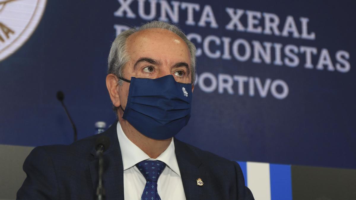El presidente del Deportivo, Antonio Couceiro, hoy durante la junta de accionistas celebrada en asamblea telemática.