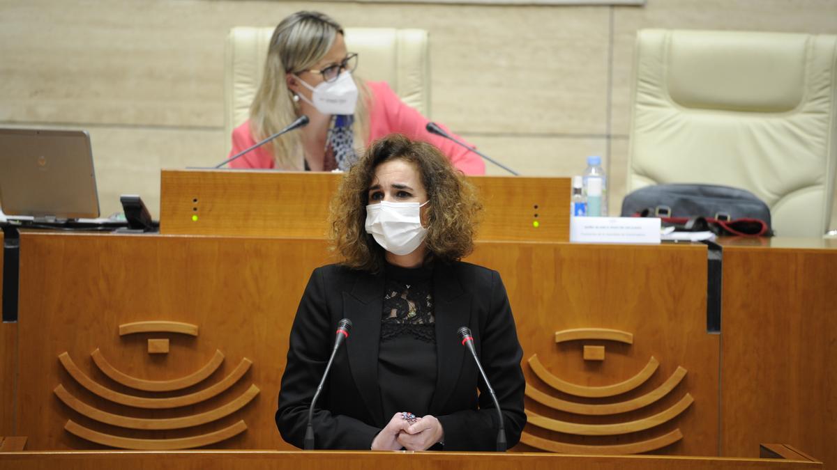 La consejera, Olga Garcia, ayer durante su comparecencia en la Asamblea de Extremadura.