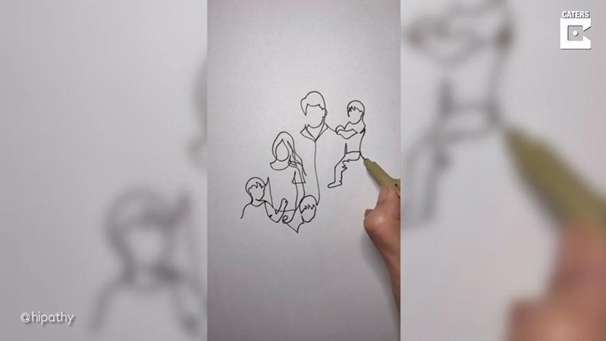 Esta artista delinea dibujos sin levantar el bolígrafo del papel hasta que termina