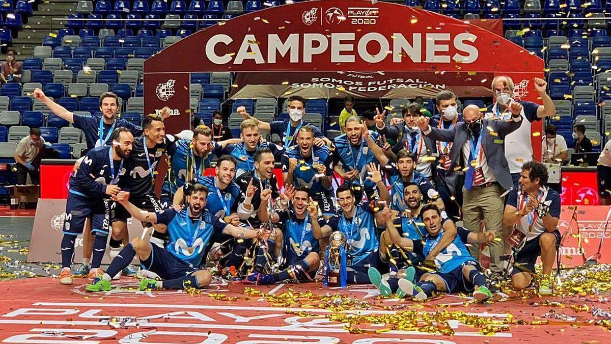 Celebración del título de Liga del Movistar Inter.