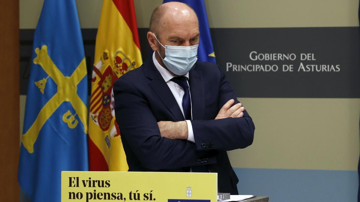 Juan Cofiño, tras el Consejo de Gobierno