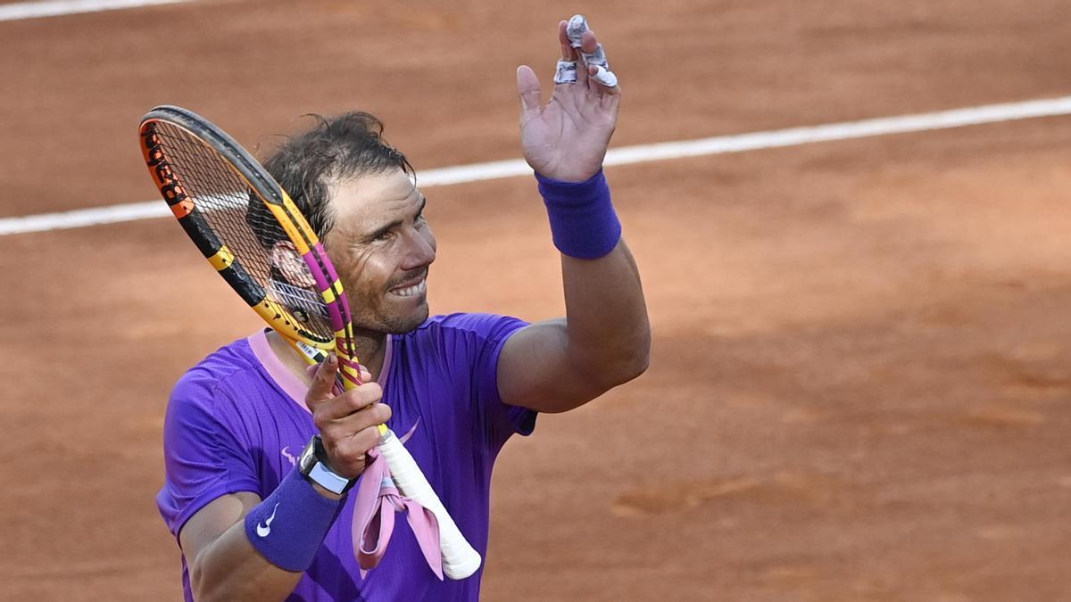Rafa Nadal celebra una victoria ante Zverev en el Masters de Roma.