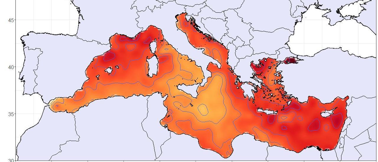 Mapa que aporta la UA donde se aprecia el calentamiento del Mediterráneo