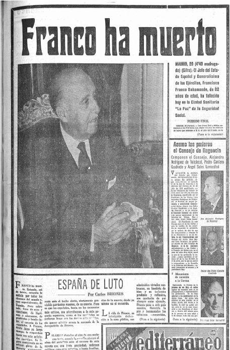 Portada de la muerte de Franco.